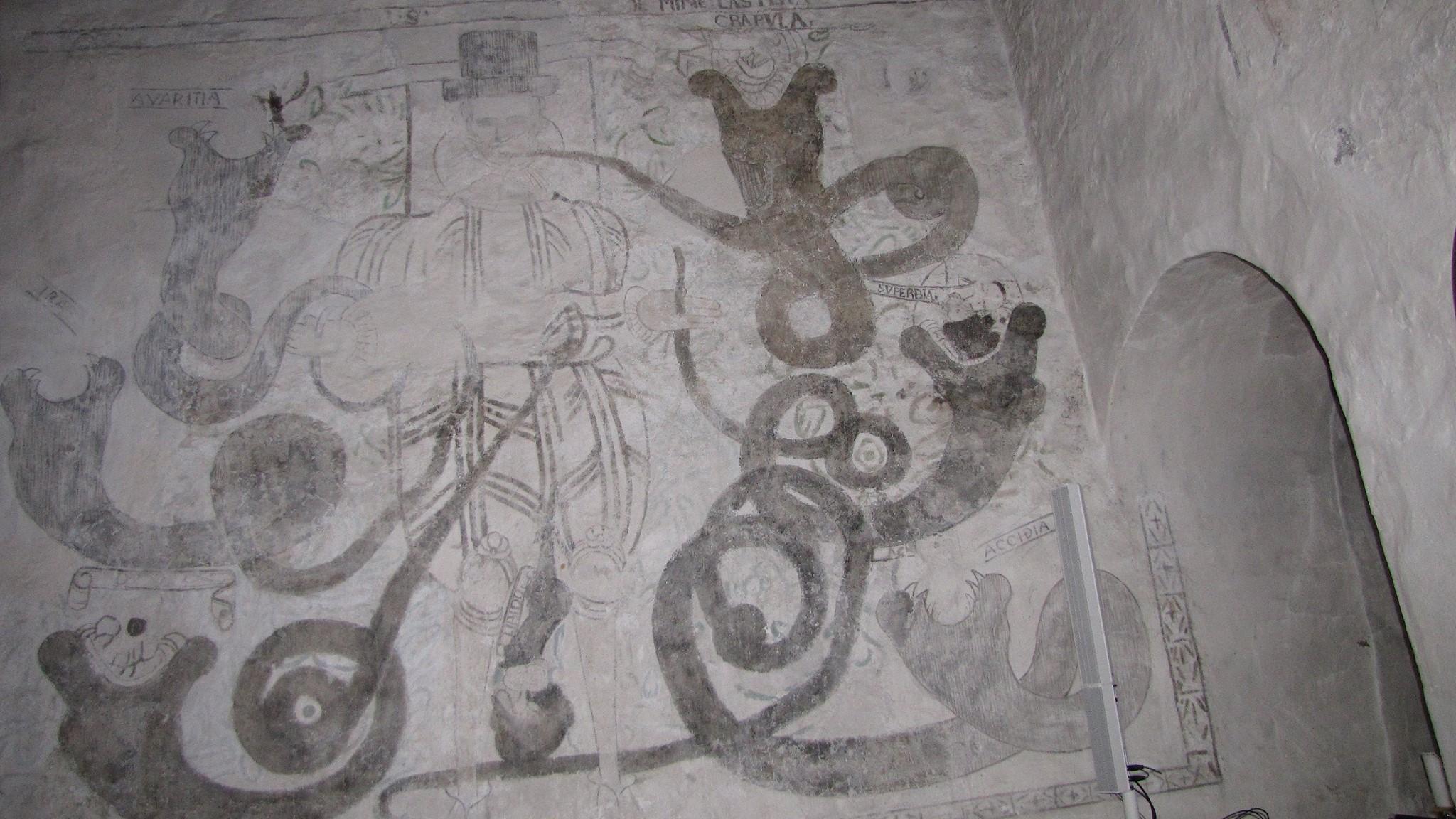 Syndemannen - kalkmaleri i Byneset Kirke - Foto I. O. Berg