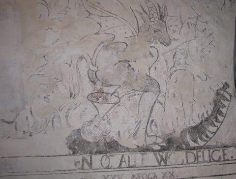 Bukkehornsdjevel - kalkmaleri i Byneset Kirke - Foto I. O. Berg